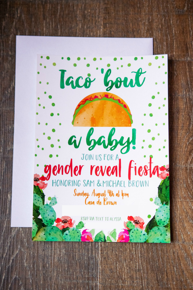 Taco Bout A Baby Gender Reveal Invitation