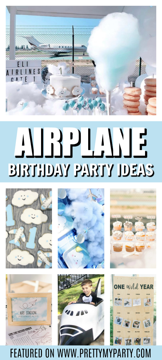 Up Up and Away 1st Birthday Airplane Theme on Pretty My Party