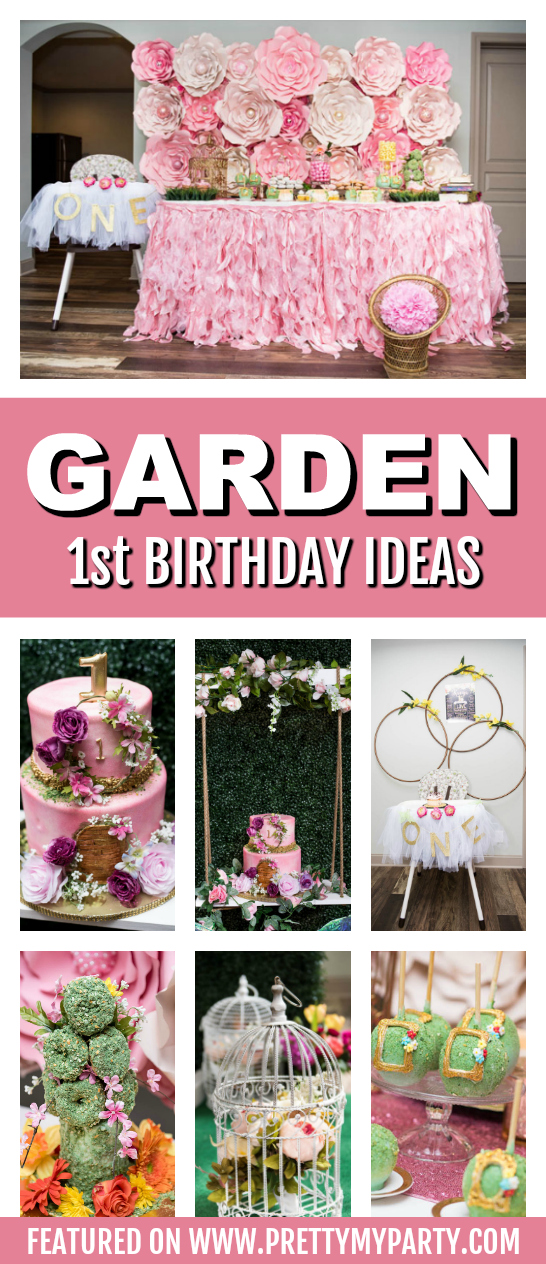 Whimsical Garden 1st Birthday Party on Pretty My Party