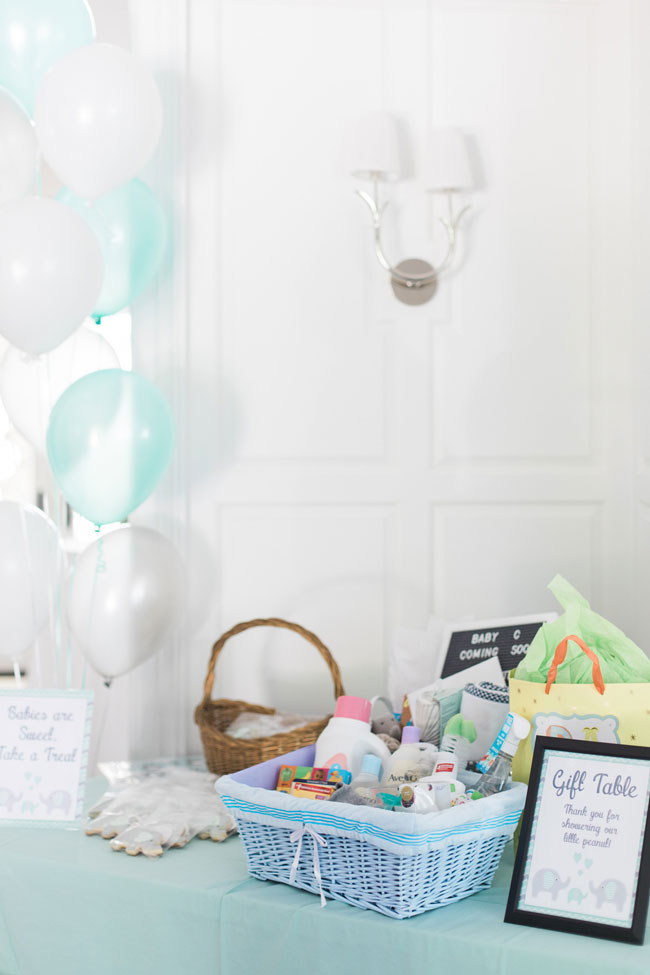 Whimsical Elephant Themed Baby Shower Gift Table