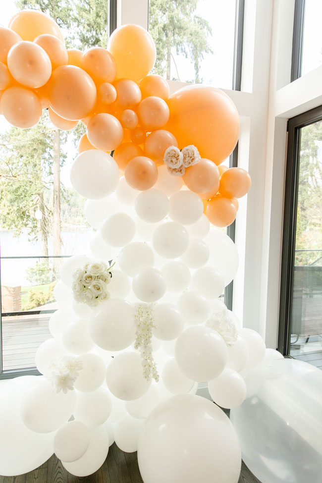 Bubbly Twin Baby Shower Balloon Arch With Flowers
