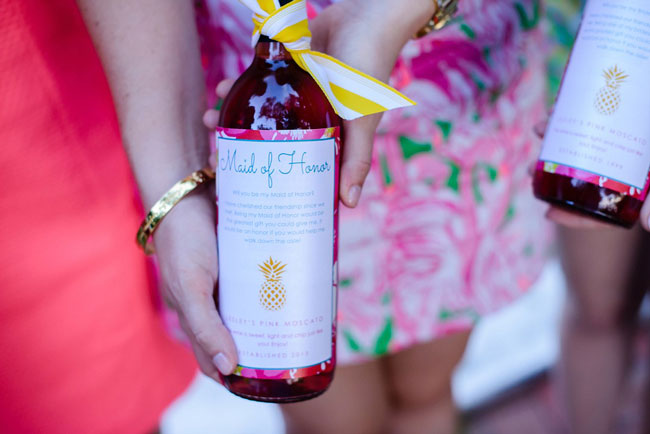 Lilly Pulitzer Bridesmaid Luncheon Wine Labels