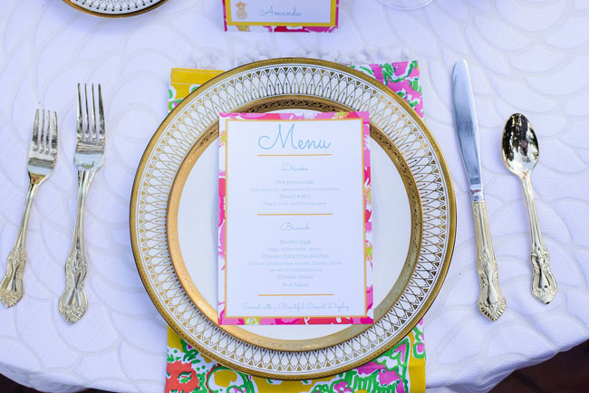 Lilly Pulitzer Bridesmaid Luncheon Menu and Place Setting