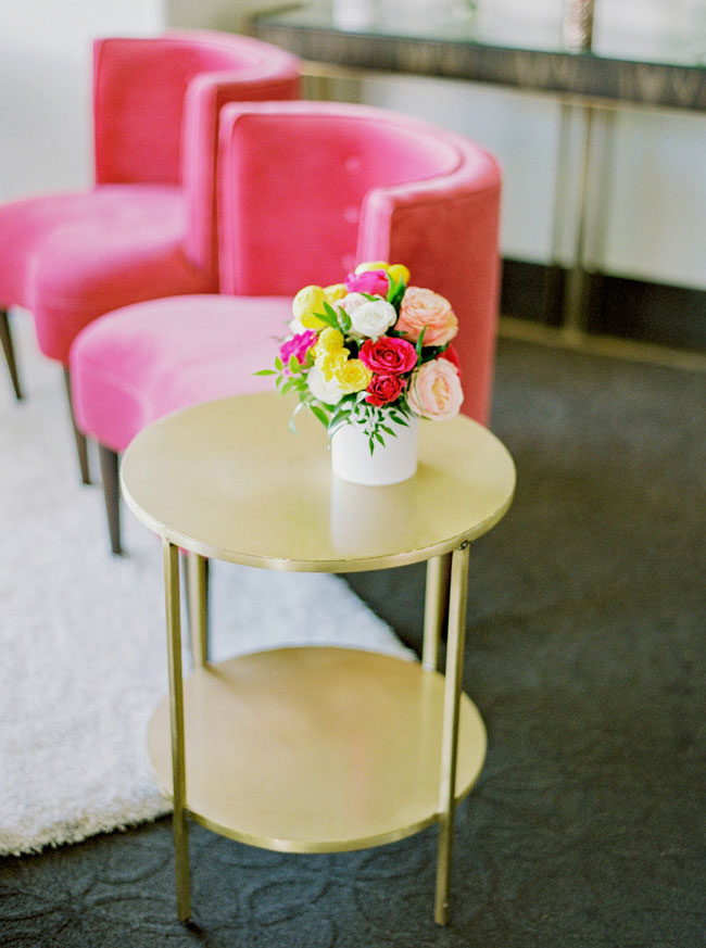 Bright Modern Bridal Shower Flower Decor