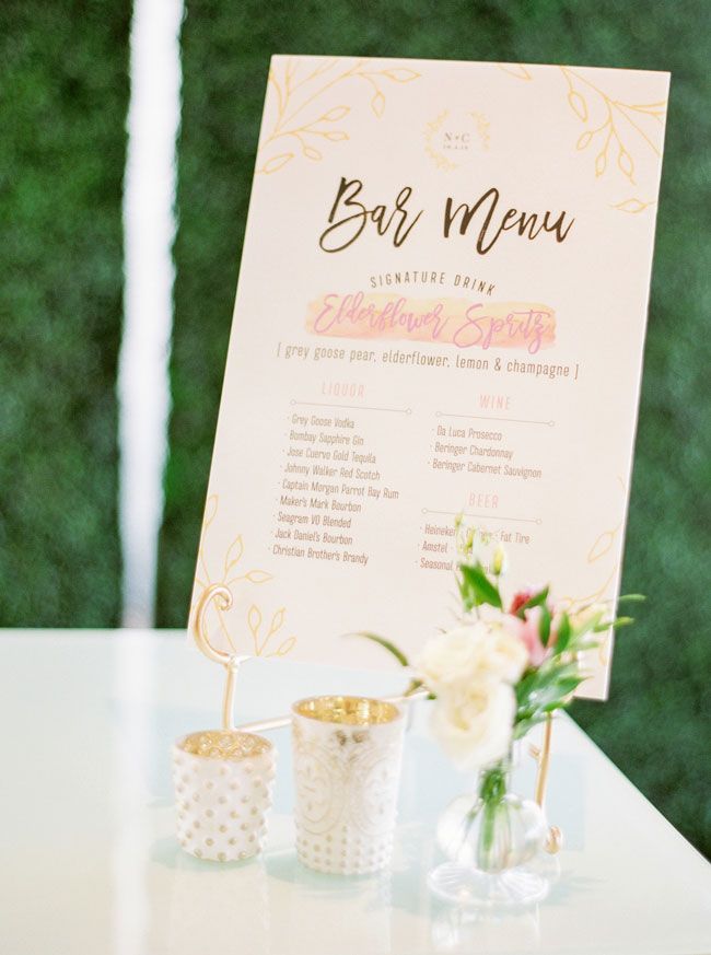 Bright Modern Bridal Shower Bar Menu