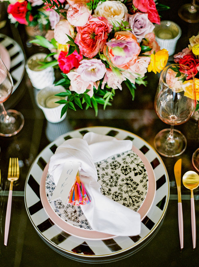 Bright Modern Bridal Shower Place Setting