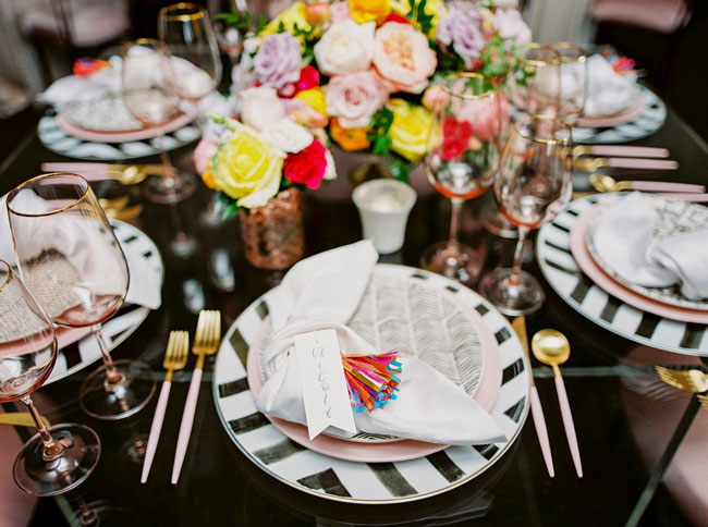 Bright Modern Bridal Shower Place Settings