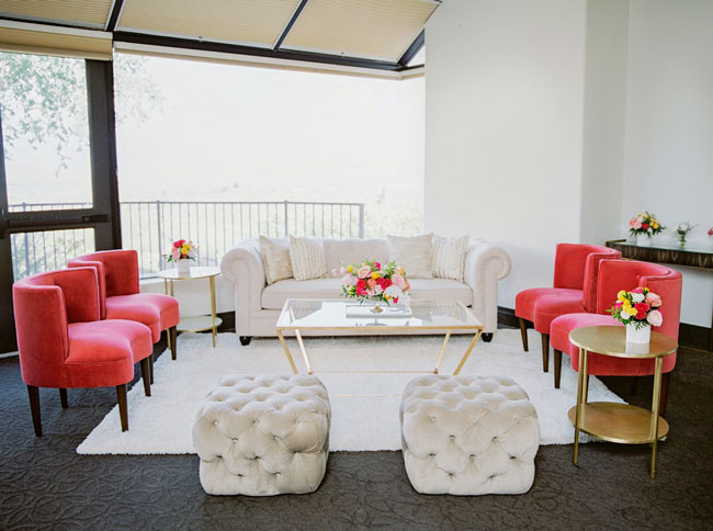 Bright Modern Bridal Shower Lounge Area