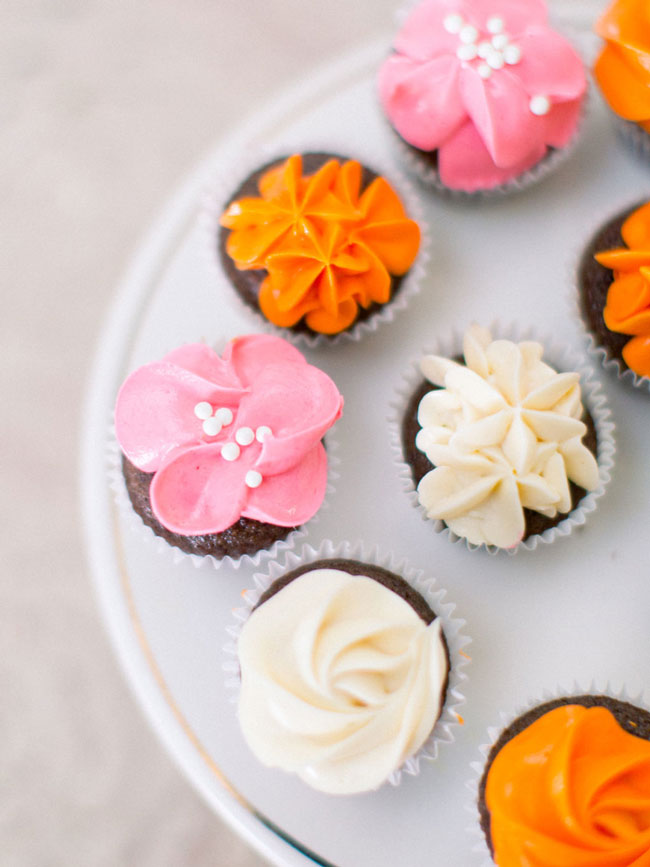 Bright Modern Bridal Shower Cupcakes