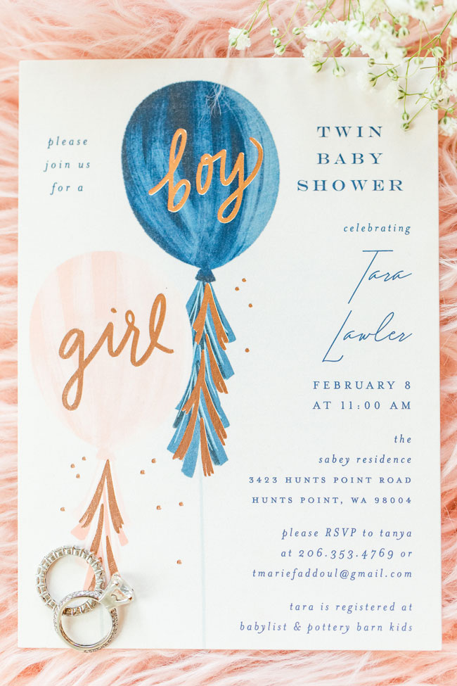 Bubbly Twin Baby Shower Invitation