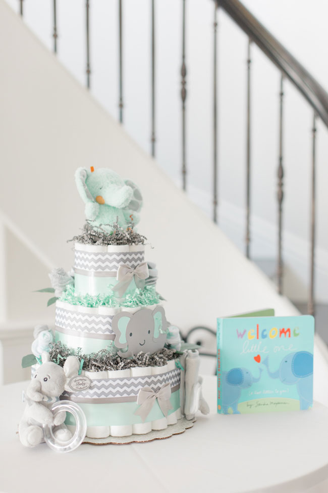 Whimsical Elephant Themed Baby Shower Diaper Cake