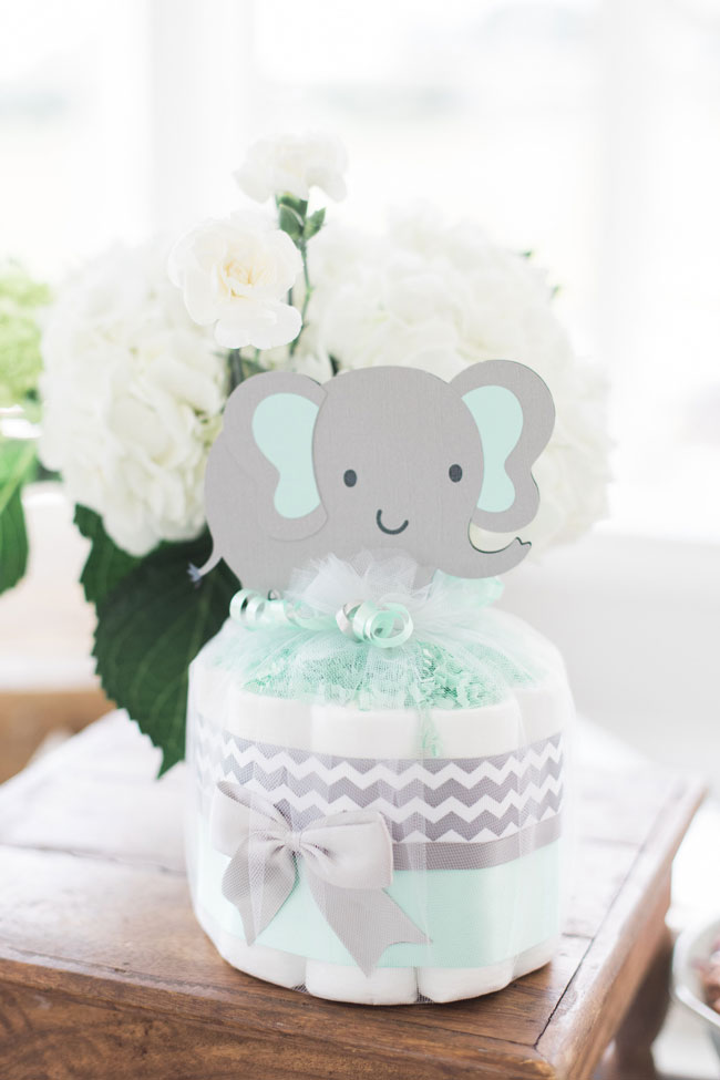 Whimsical Elephant Themed Baby Shower Mini Diaper Cake