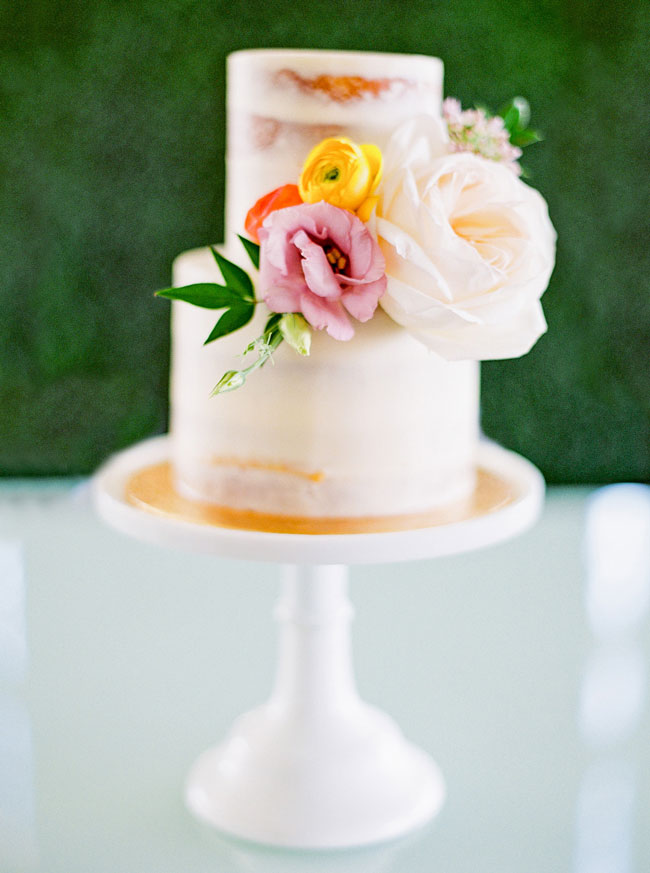 Bright Modern Bridal Shower Naked Cake With Flowers