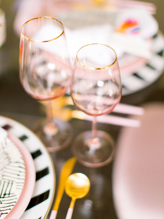 Bright Modern Bridal Shower Wine Glasses