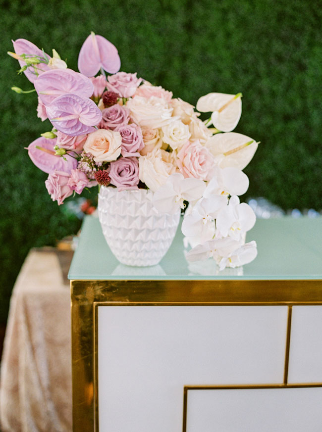 Bright Modern Bridal Shower Floral Arrangement