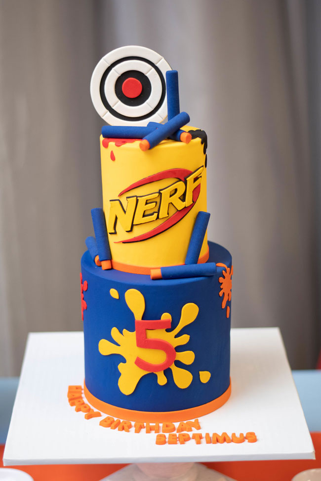 Pleasant Nerf Themed Birthday Party Pretty My Party Party Ideas Personalised Birthday Cards Veneteletsinfo