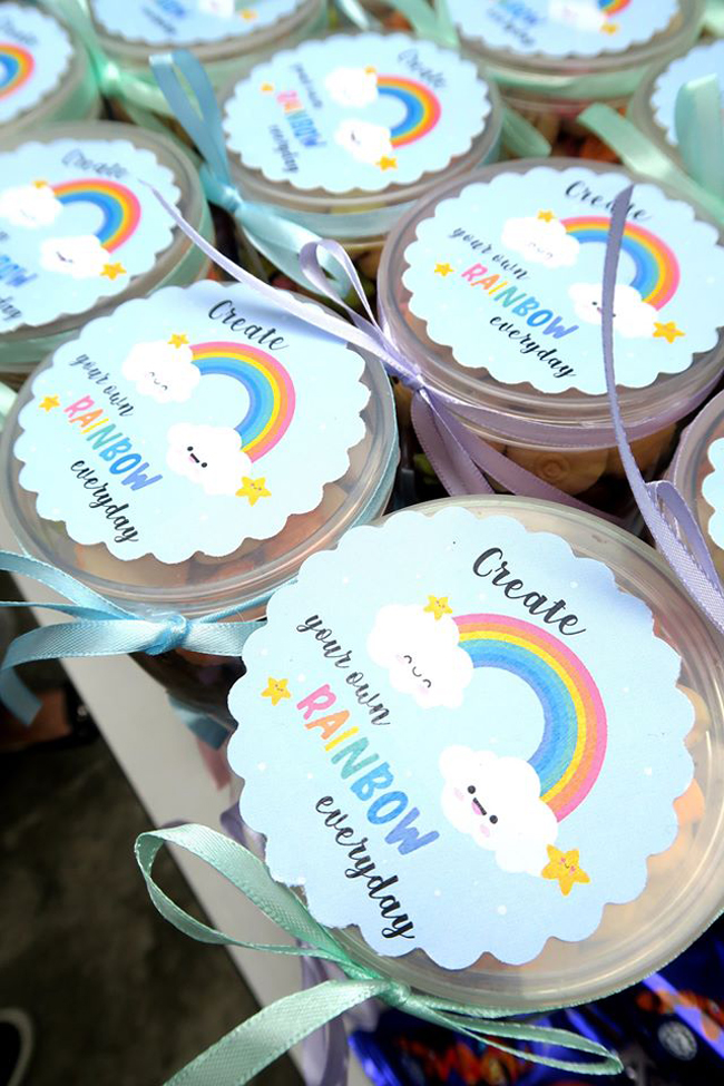 Pastel Rainbow Themed Party Favors