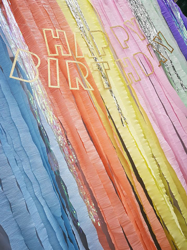Pastel Rainbow Themed Party Streamer Backdrop and Happy Birthday Banner