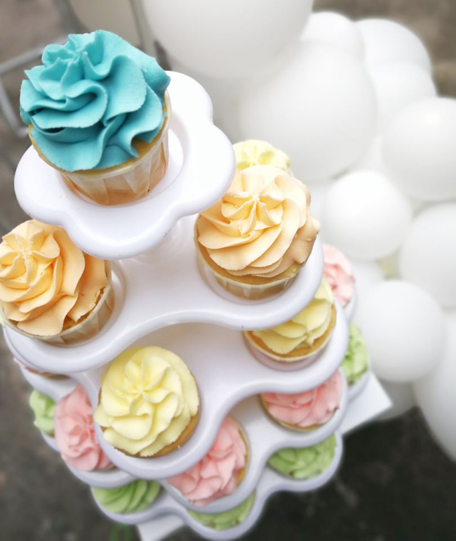 Pastel Rainbow Themed Party Cupcakes