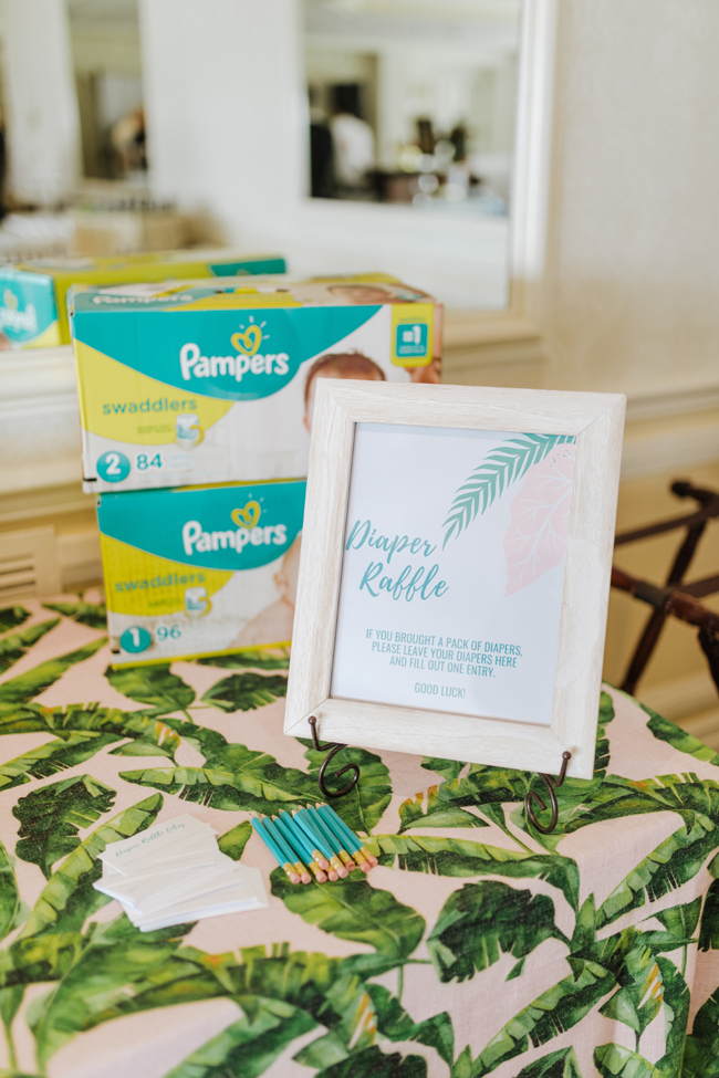 Tropical Aloha Baby Shower Diaper Raffle Sign