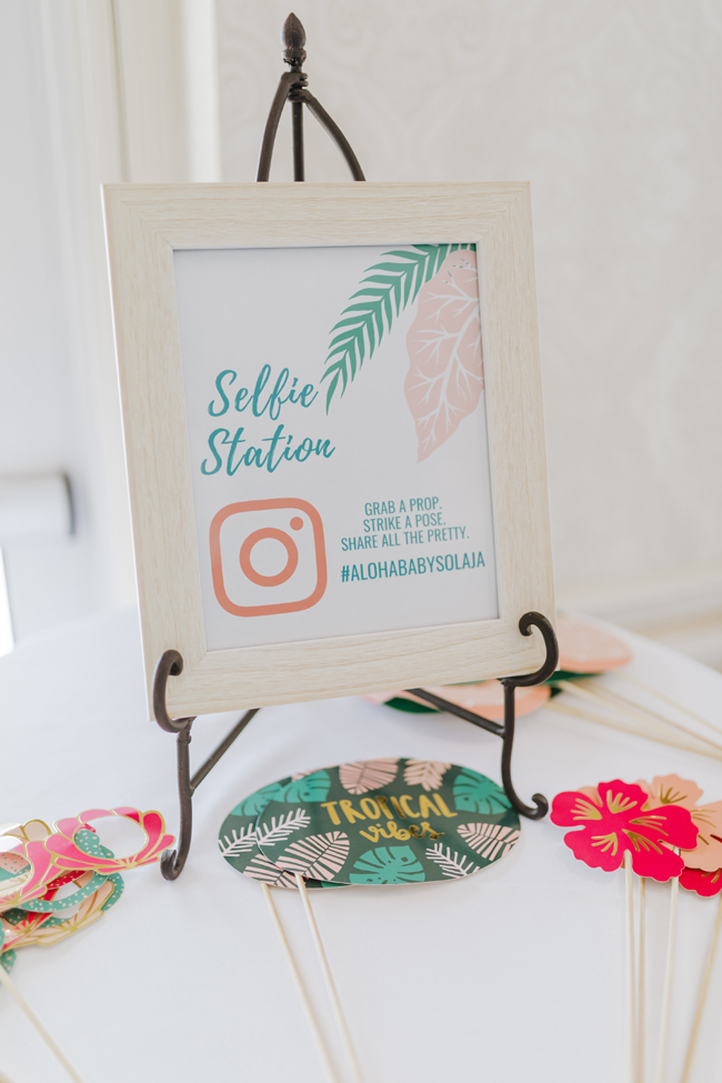 Tropical Aloha Baby Shower Selfie Station Sign