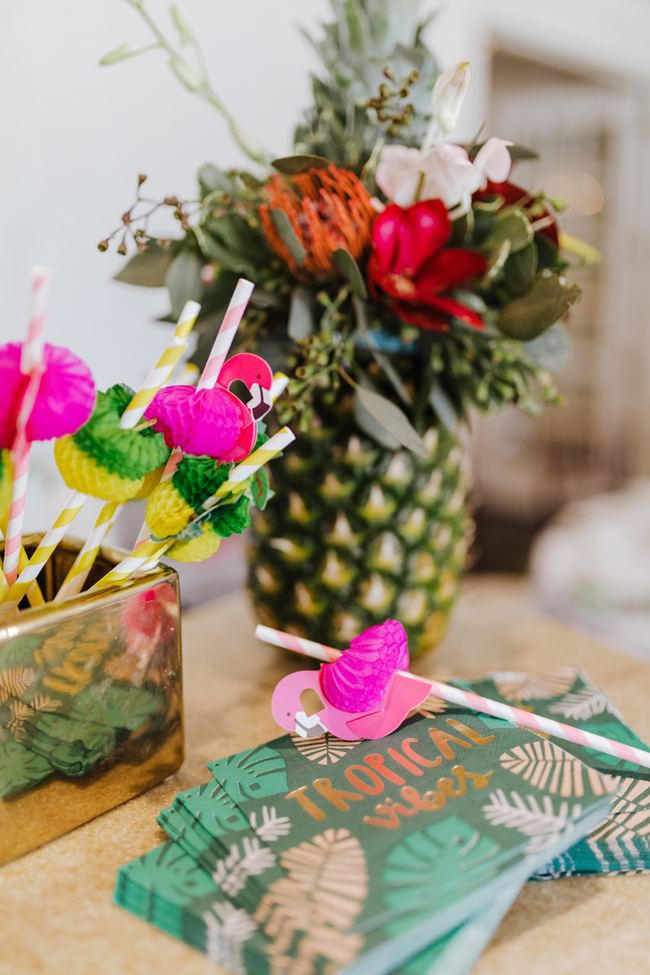 Tropical Aloha Baby Shower Flamingo Straws