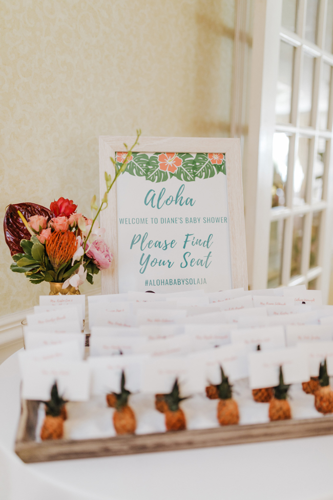 Tropical Aloha Baby Shower Pineapple Escort Cards
