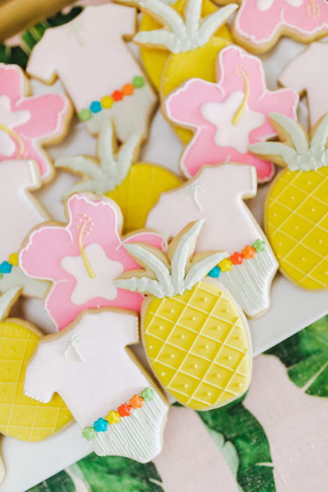 Tropical Aloha Baby Shower Cookies