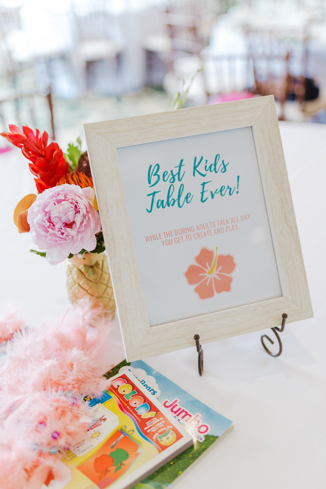 Tropical Aloha Baby Shower Kids Table Sign