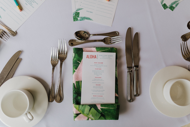 Tropical Aloha Baby Shower Menu
