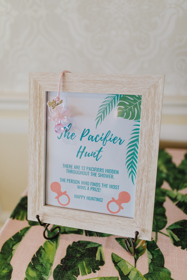 Tropical Aloha Baby Shower Pacifier Hunt Game