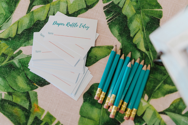 Tropical Aloha Baby Shower Diaper Raffle Cards
