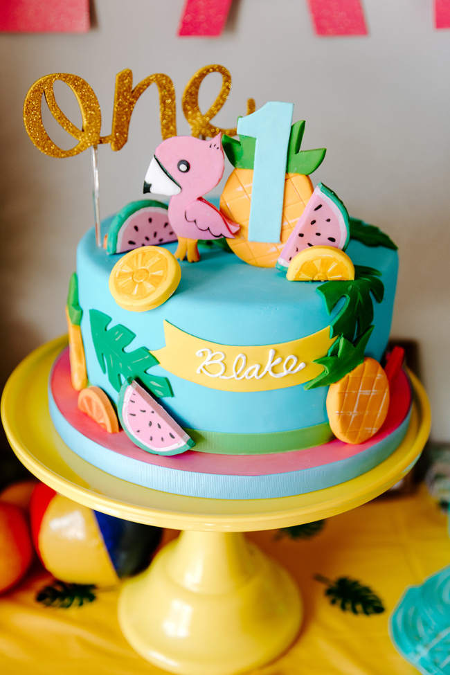 Tropical Tutti Frutti Flamingle Party Cake