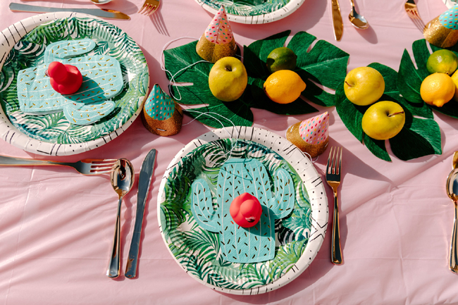 Tropical Tutti Frutti Flamingle Party Place Setting