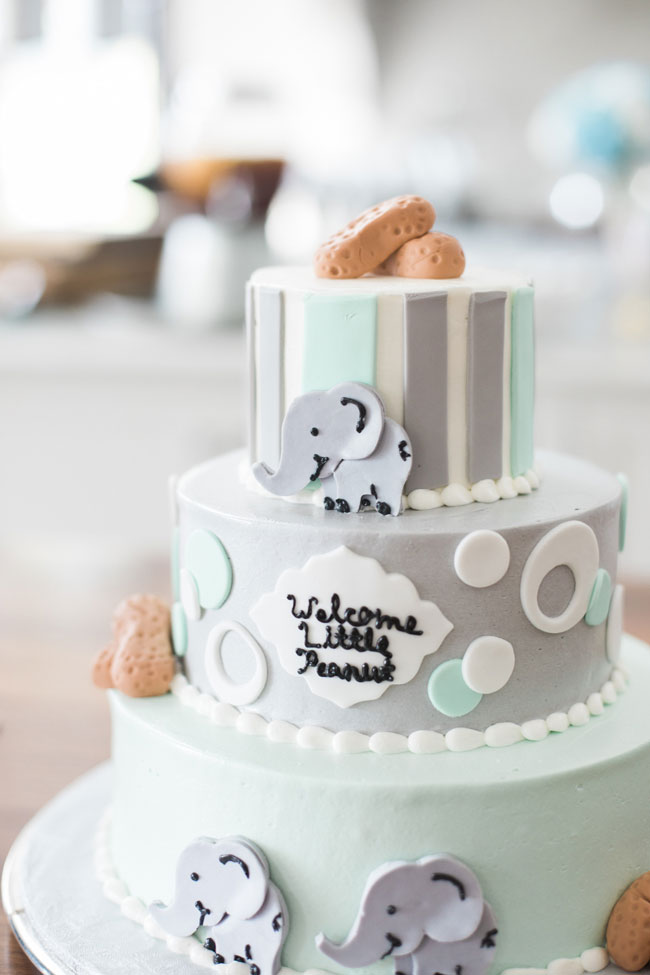 Whimsical Elephant Themed Baby Shower Cake