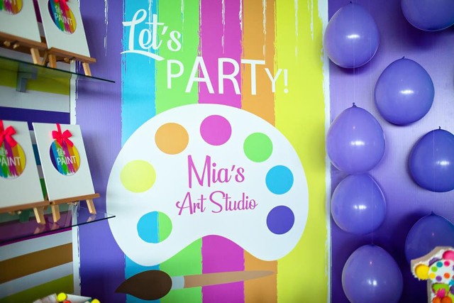 Personalized Art Party Backdrop
