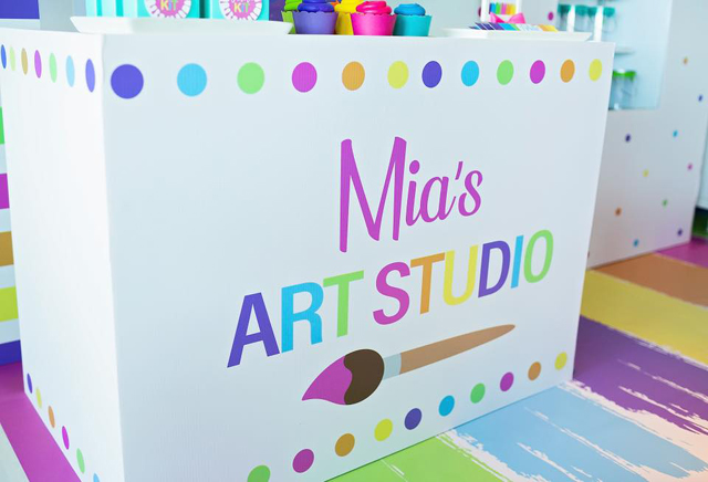 Personalized Art Studio Party Sign