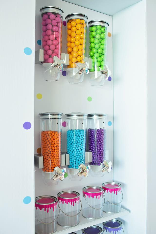 Colorful Art Party Candy Wall Display
