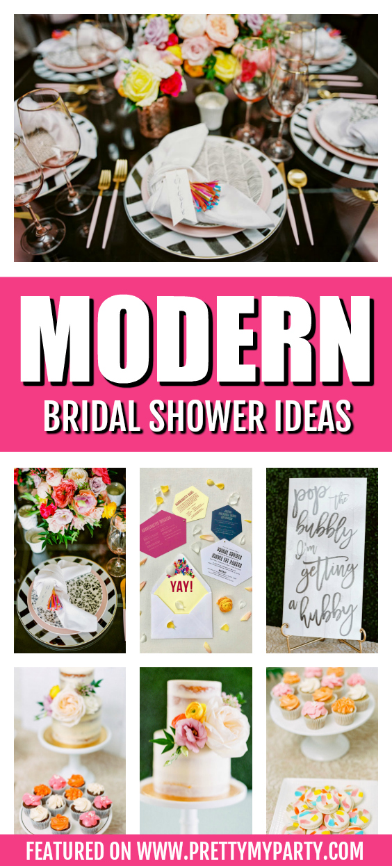 Bright Modern Bridal Shower on Pretty My Party