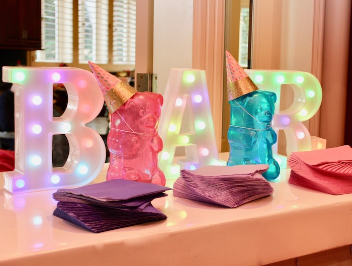Whimsical Candyland Birthday Party Marquee Lights and Gummy Bear Decor