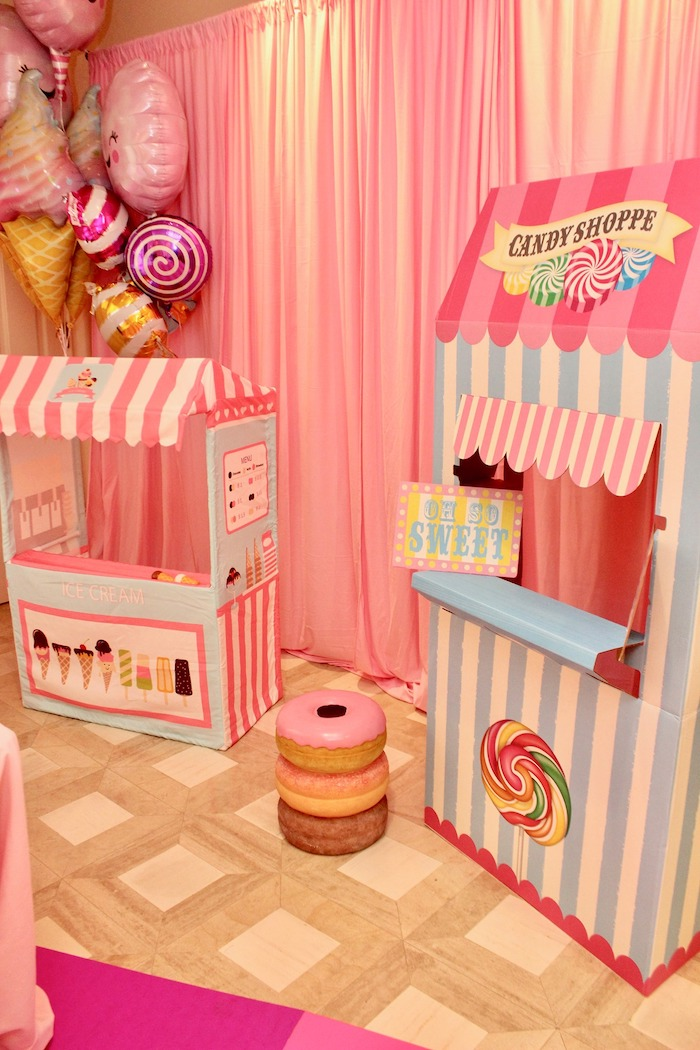 Whimsical Candyland Birthday Party Candy Shoppe and Ice Cream Stands