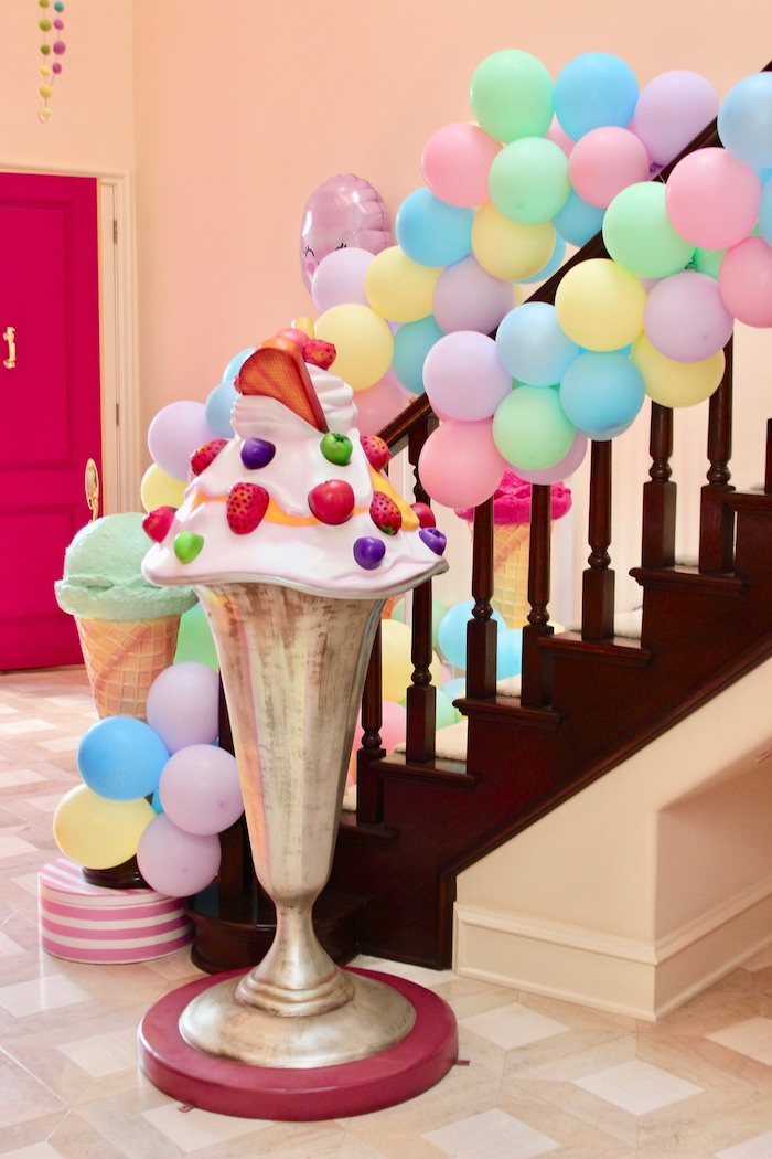 Whimsical Candyland Birthday Party Ice Cream Decor
