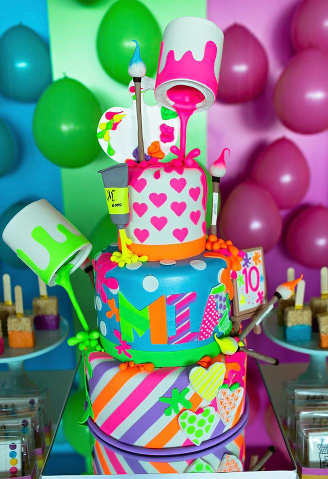 Peachy Colorful Art Themed Birthday Party Pretty My Party Party Ideas Funny Birthday Cards Online Necthendildamsfinfo