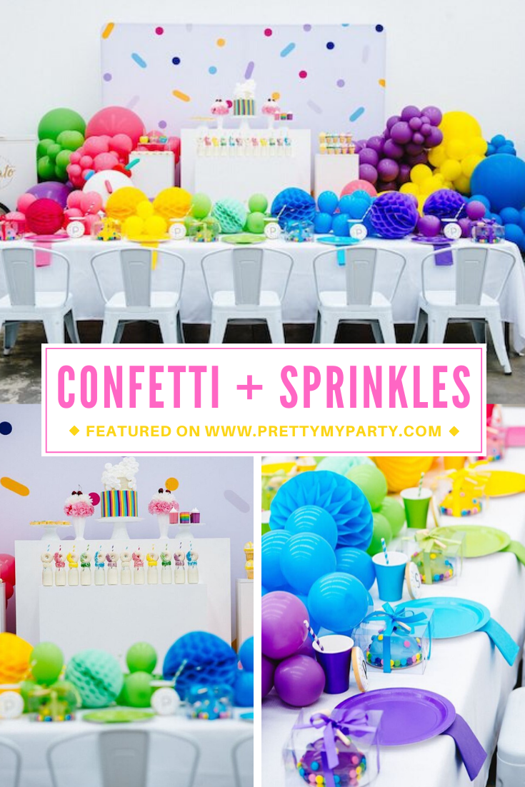 Rainbow Sprinkles and Confetti Birthday Party on Pretty My Party