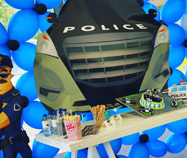 Cops and Robbers Party Dessert Table and Backdrop