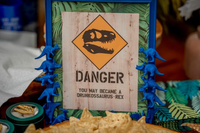 Dinosaur Birthday Party Danger Sign