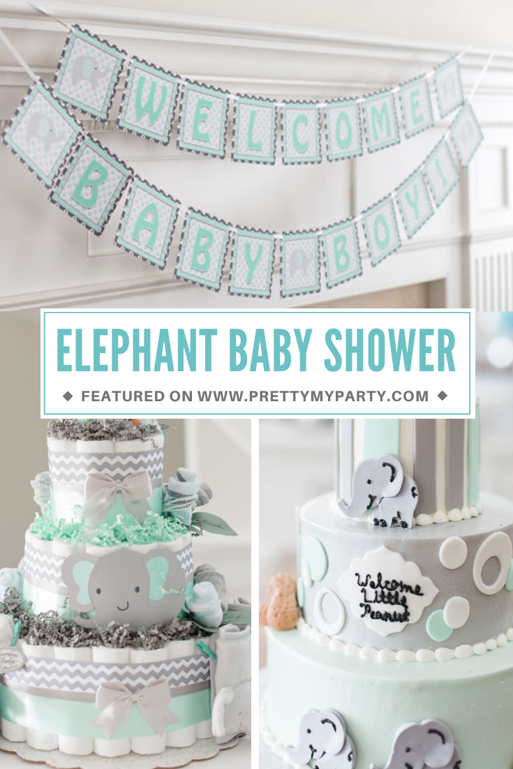 Elephant Themed Baby Shower on Pretty My Party