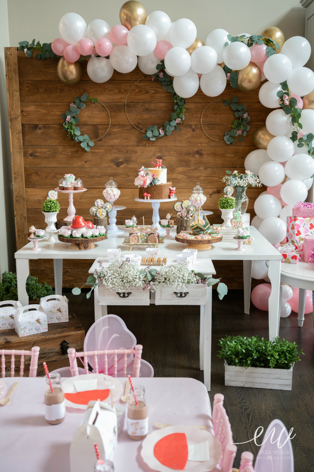 Enchanted Forest 1st Birthday Dessert Table