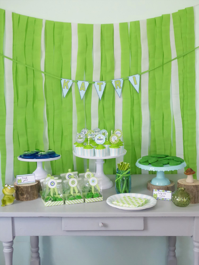Frog Themed Birthday Party Dessert Table