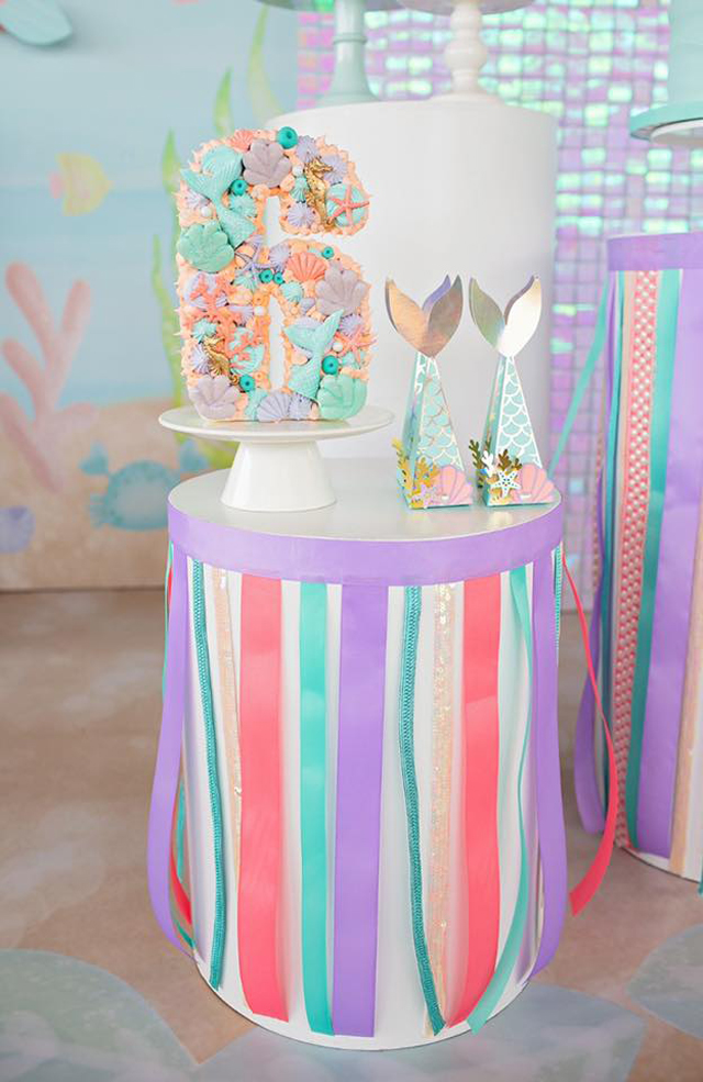 Shimmering Pastel Mermaid Birthday Party Dessert Pedestal